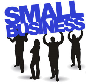 Small business Human resources image of San Diego business men holding up words SMALL BUSINESS